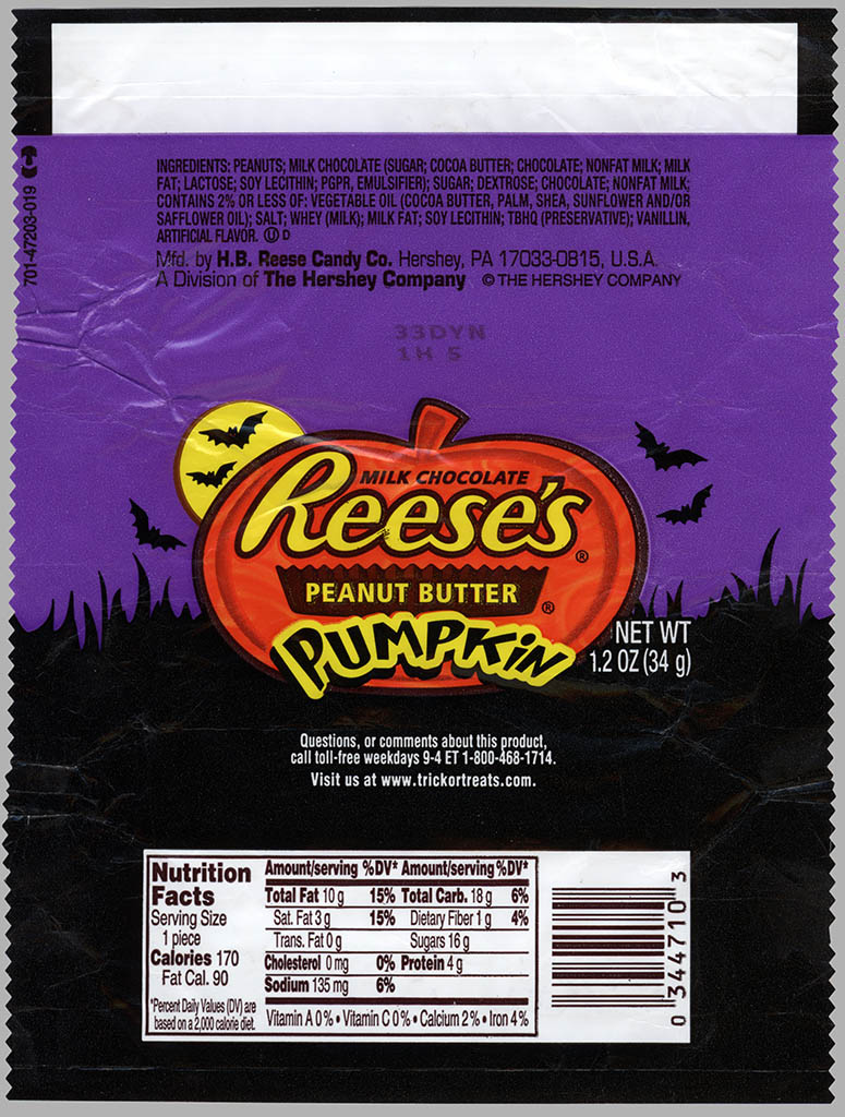 Hershey's - Reese's Peanut Butter Pumpkin - candy wrapper - October 2010