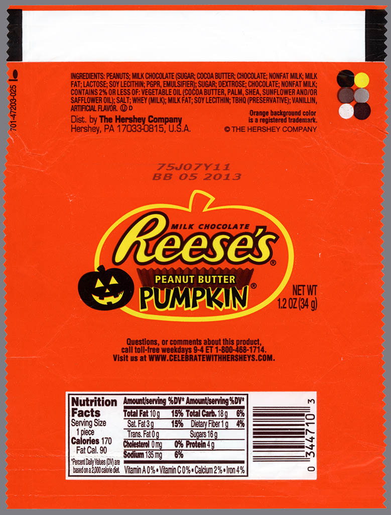 Hershey's - Reese's Peanut Butter Pumpkin - candy wrapper - October 2012