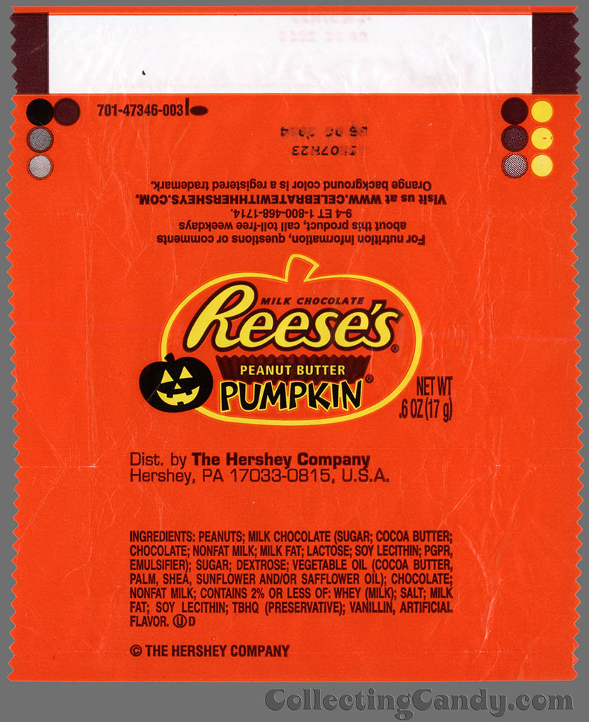 Hershey's - Reese's Pumpkin - Halloween _6 oz snack size candy wrapper - 2013