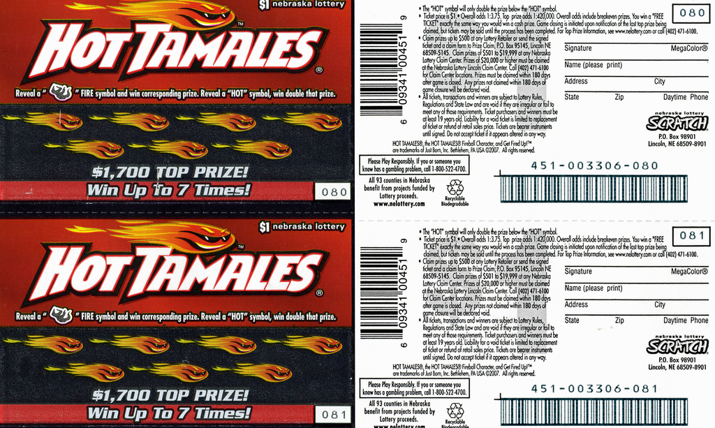 Hot Tamales branded Nebraska Lottery scratch tickets - 2007