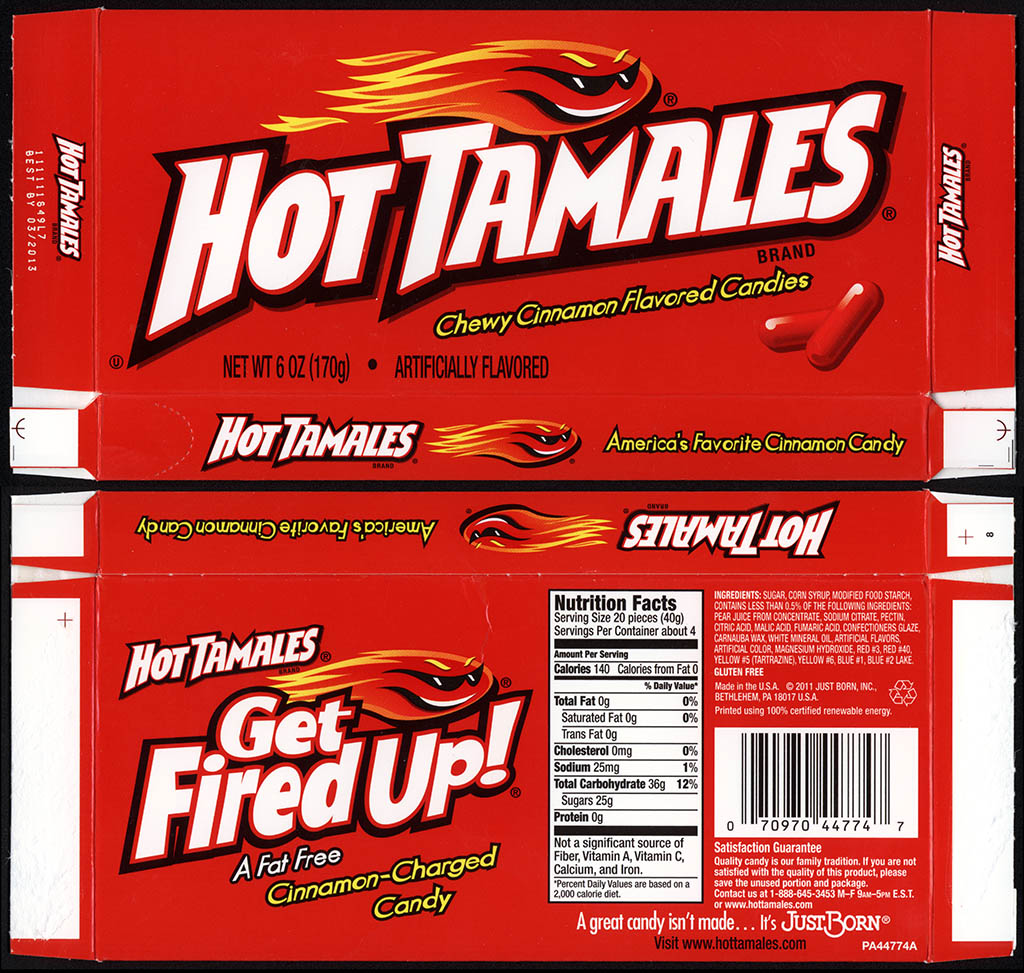 Just Born - Hot Tamales - Chewy Cinnamon Flavored Candies - candy box - December 2011