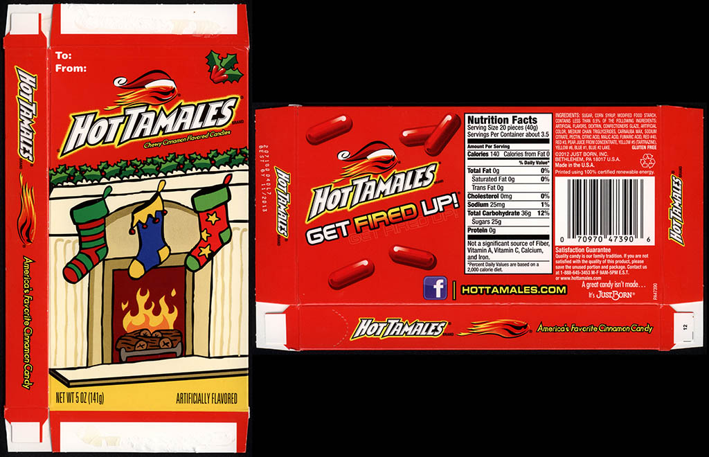 Just Born - Hot Tamales - Christmas Holiday Edition - 5 oz candy box - 2012