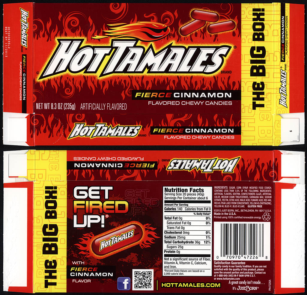 Just Born - Hot Tamales Firece Cinnamon - The BIG Box - 8.3 oz candy box - 2013