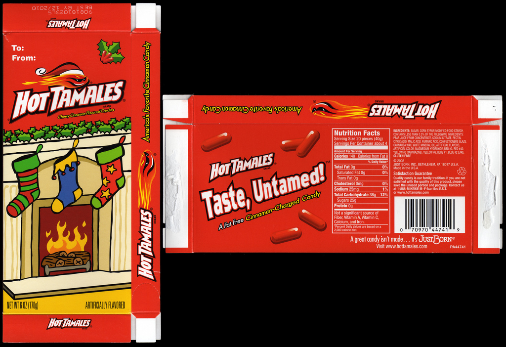 Just Born - Hot Tamales - Holiday 6oz box - 2009