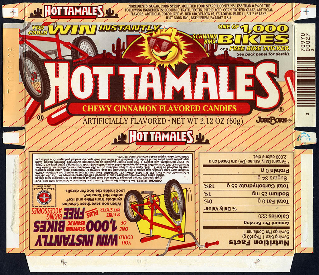 Just Born - Hot Tamales - Schwinn BMX Bike Instant Win Game - candy box - 1997