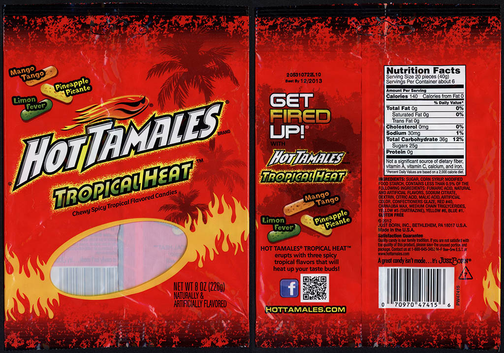 Just Born - Hot Tamales Tropical Heat - 8 oz candy package - 2013