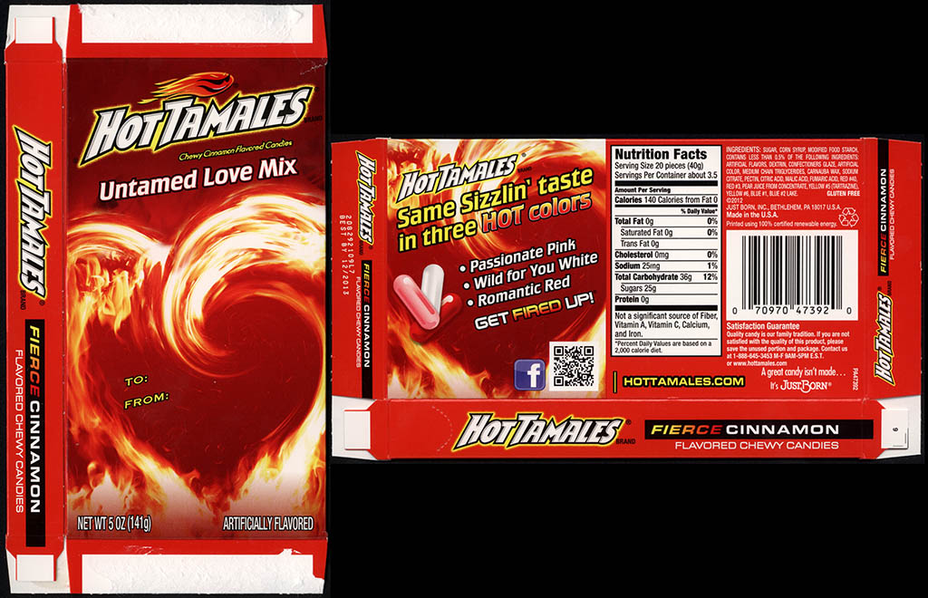 Just Born - Hot Tamales - Untamed Love Mix - 5 oz candy box - Valentine's Holiday 2013