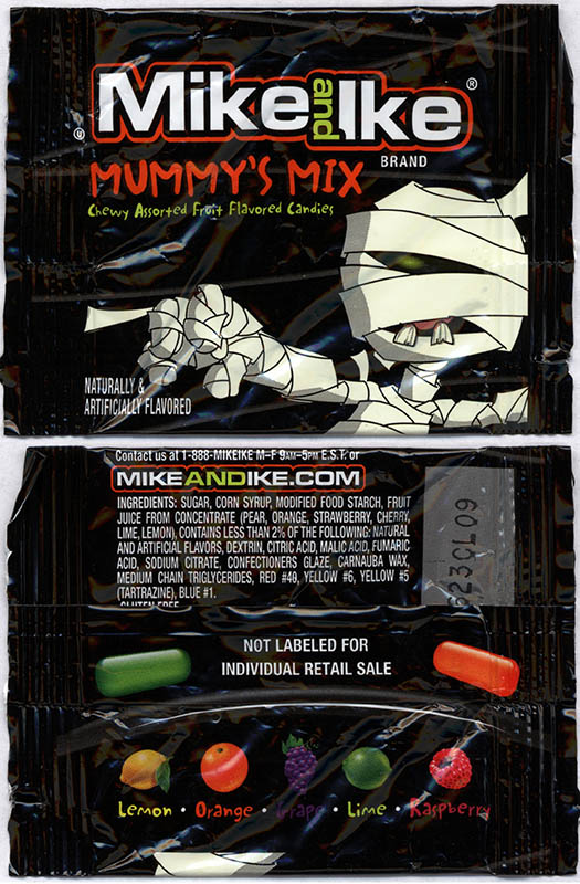 Just Born - Mike and Ike Mummy's Mix - Halloween snack size candy package - October 2013
