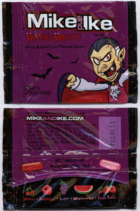 Just Born - Mike and Ike Vampire Variety - Halloween snack size candy package - October 2013