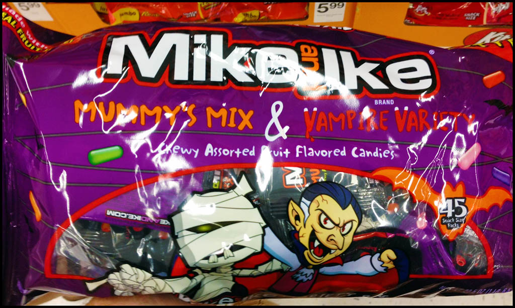 Just Born - Mike and Ike - Vampire Variety & Mummy's Mix - 45 snack pack candy package - seen at Target - October 2013