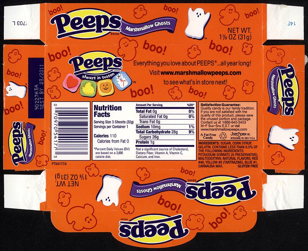 Just Born - Peeps Marshmallow Ghosts - Halloween candy package tray - 2010