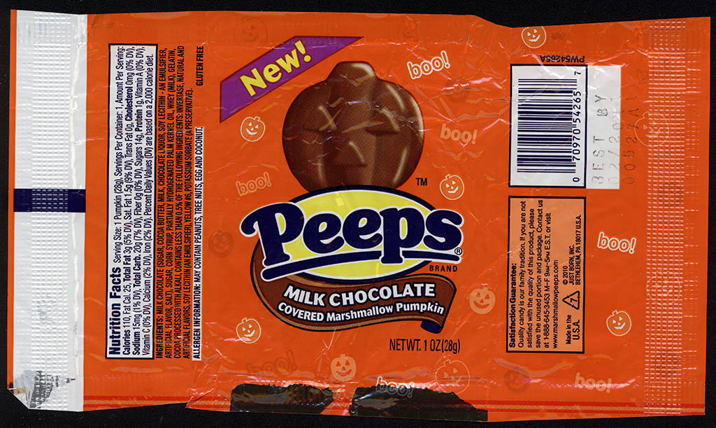 Just Born - Peeps - Milk Chocolate Covered Marshmallow Pumpkin - NEW - candy package - 2010