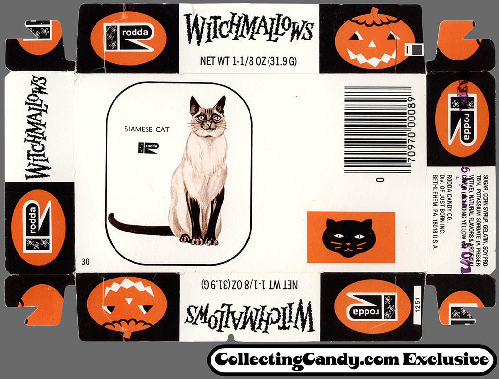 Just Born - Rodda - Witchmallows - Halloween Marshmallow Peeps - candy package tray - 1970's