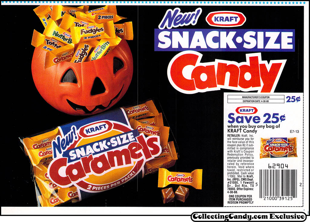 Kraft - Halloween candy newspaper circular coupon - 1987