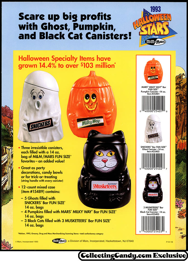 M&M_Mars_1993_Halloween Stars promotional flyer - Ghost Pumpkin Black Cat Canisters