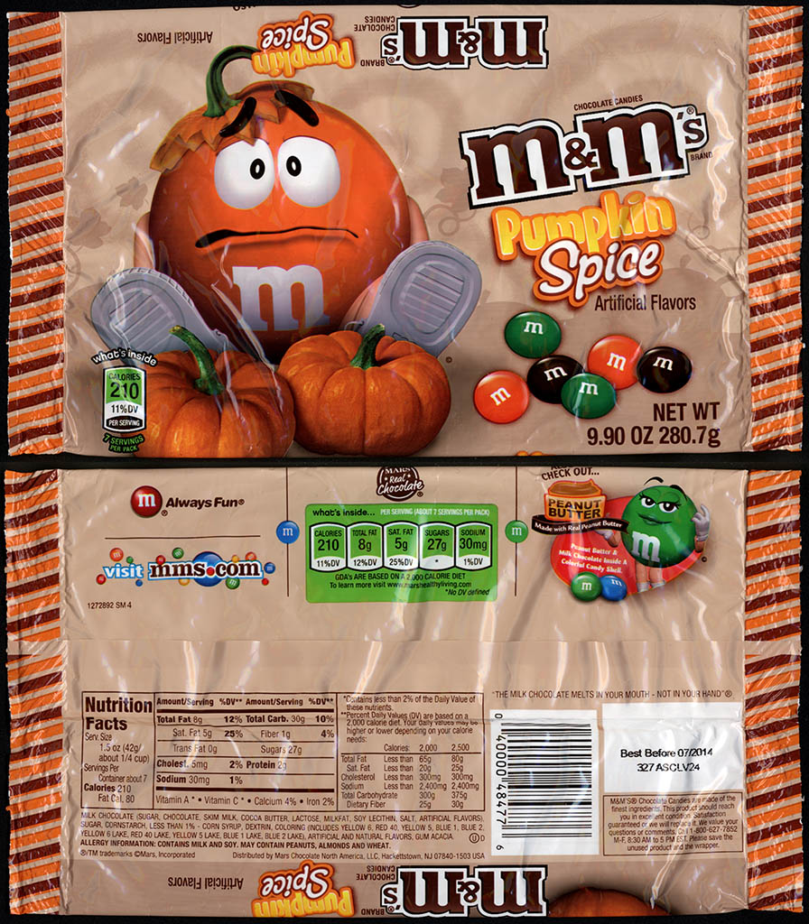 Mars - M&M's Pumpkin Spice - 9_9 oz candy package - Fall 2013