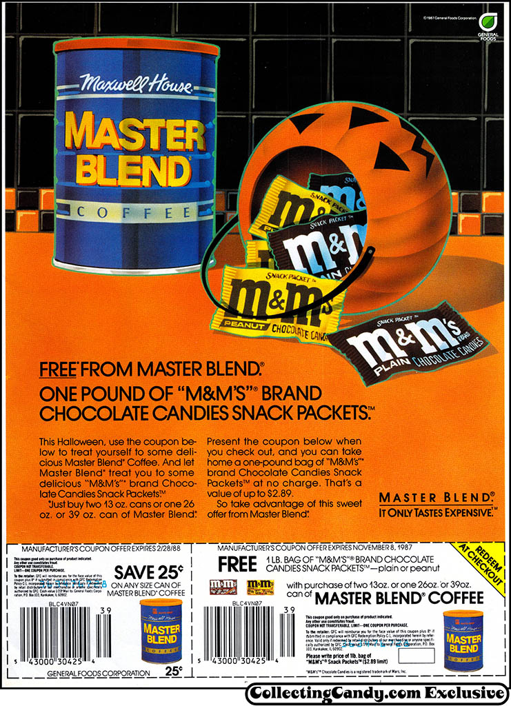 Mars - M&M's and Maxwell House Master Blend - Halloween candy-coffee newspaper circular coupon - 1987