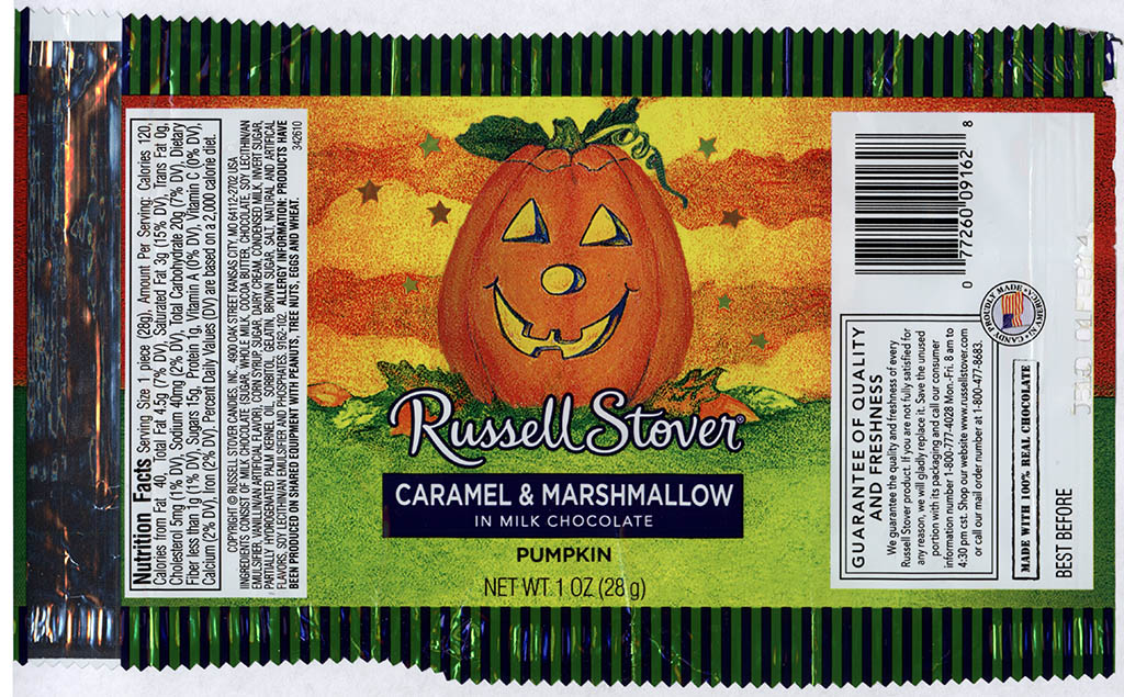 Russell Stover - Caramel & Marshamallow in Milk Chocolate Pumpkin - candy package - Halloween 2013