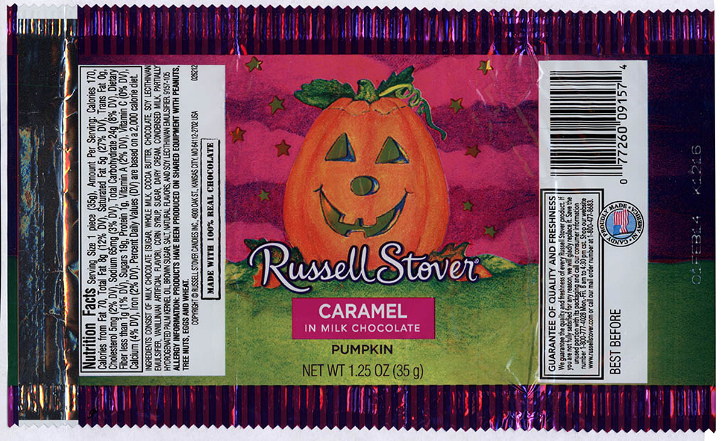 Russell Stover - Caramel in Milk Chocolate Pumpkin - candy package - Halloween 2013