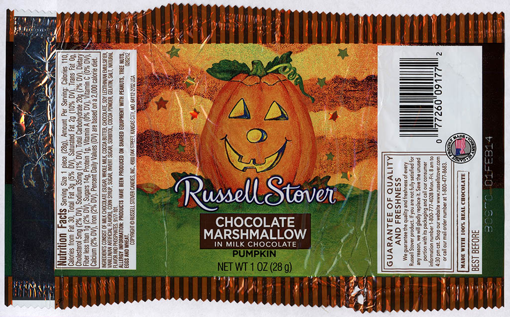 Russell Stover - Chocolate Marshmallow in Milk Chocolate Pumpkin - candy package - Halloween 2013