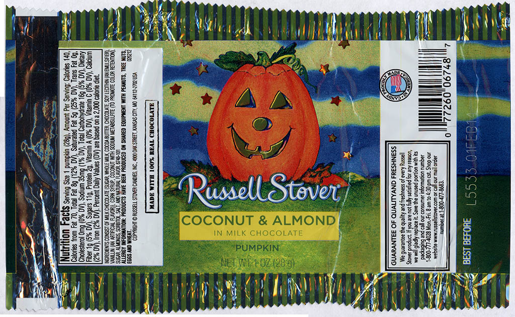 Russell Stover - Coconut & Almond in Milk Chocolate Pumpkin - candy package - Halloween 2013
