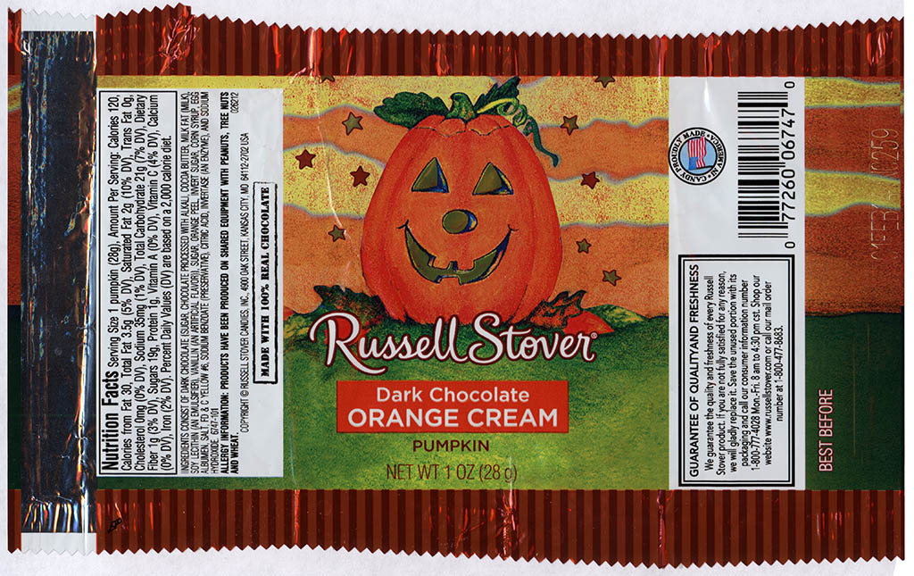Russell Stover - Dark Chocolate Orange Cream Pumpkin - candy package - Halloween 2013