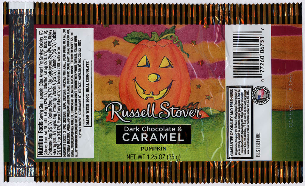 Russell Stover - Dark Chocolate and Caramel Pumpkin - candy package - Halloween 2013
