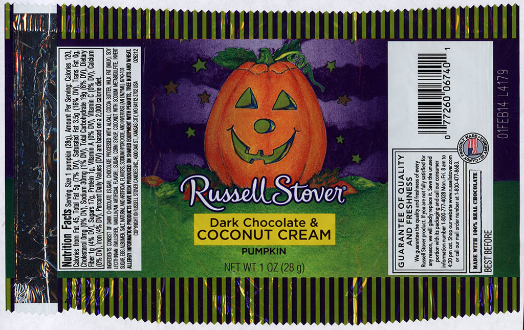 Russell Stover - Dark Chocolate and Coconut Cream Pumpkin - candy package - Halloween 2013