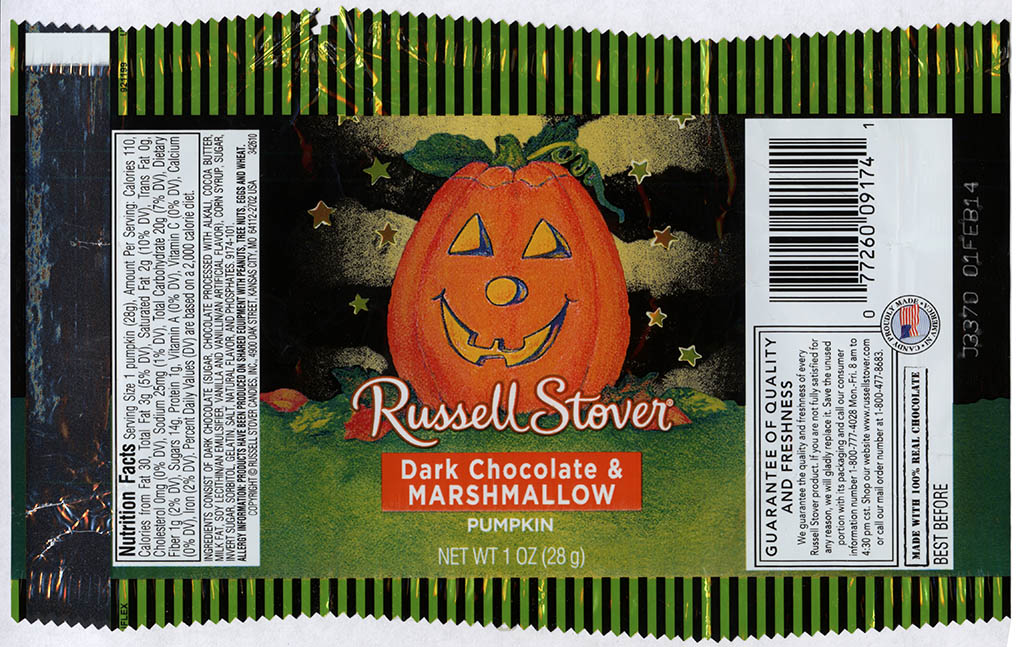 Russell Stover - Dark Chocolate and Marshmallow Pumpkin - candy package - Halloween 2013