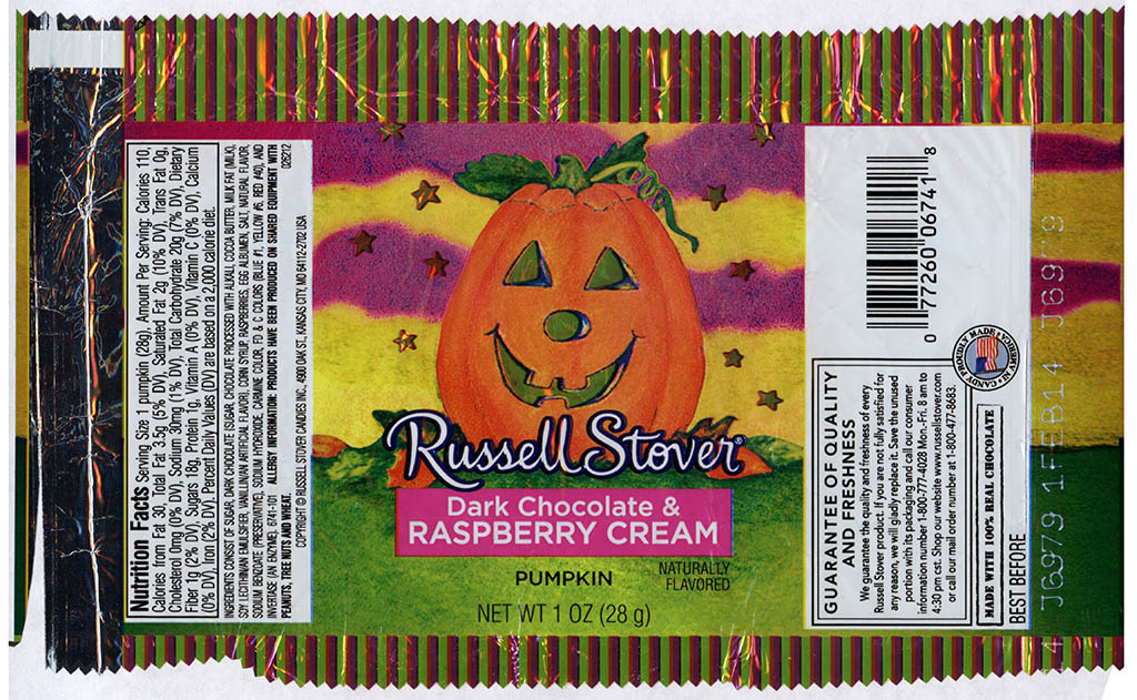 Russell Stover - Dark Chocolate and Raspberry Cream Pumpkin - candy package - Halloween 2013