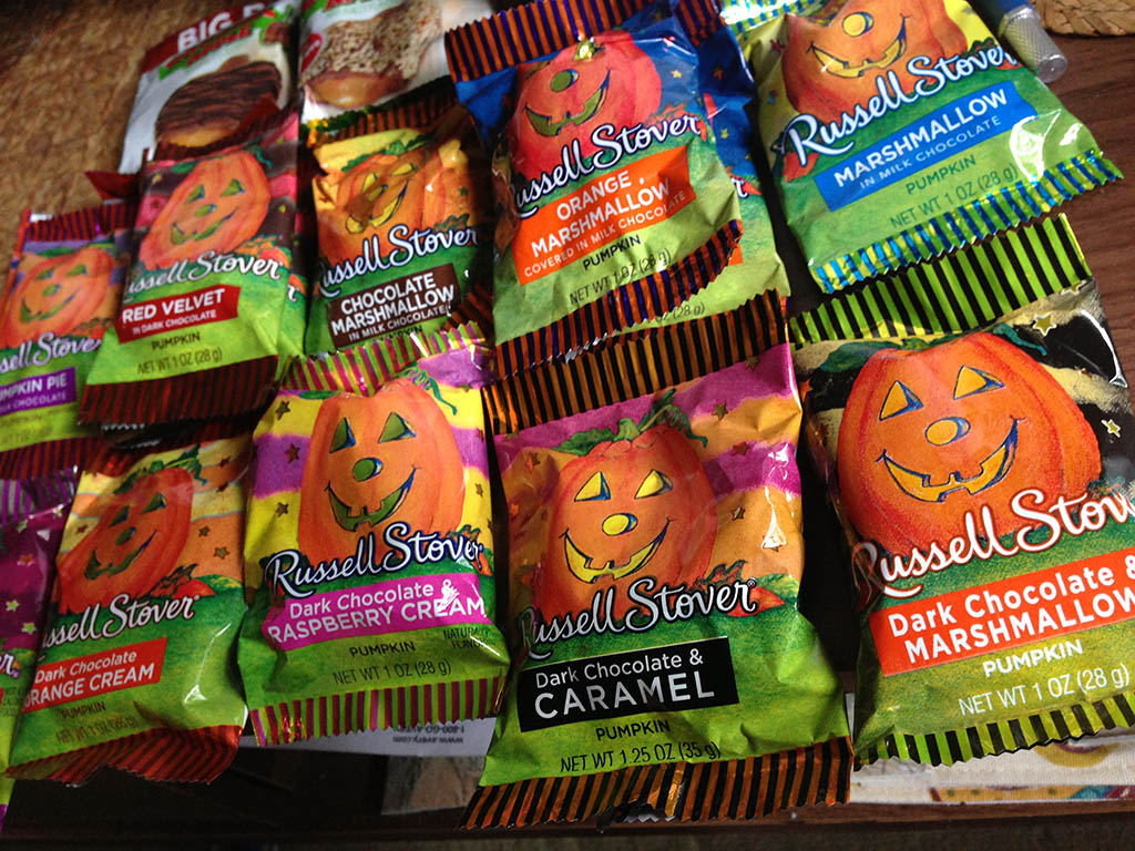 Russell Stover Halloween Pumpkins all laid out.
