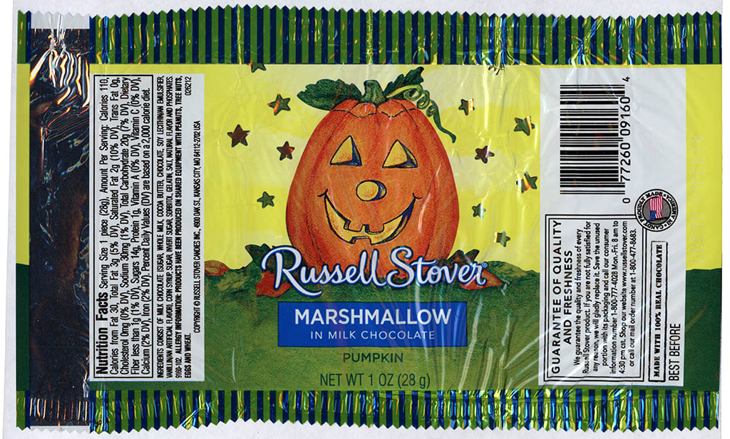 Russell Stover - Marshamallow in Milk Chocolate Pumpkin - candy package - Halloween 2013