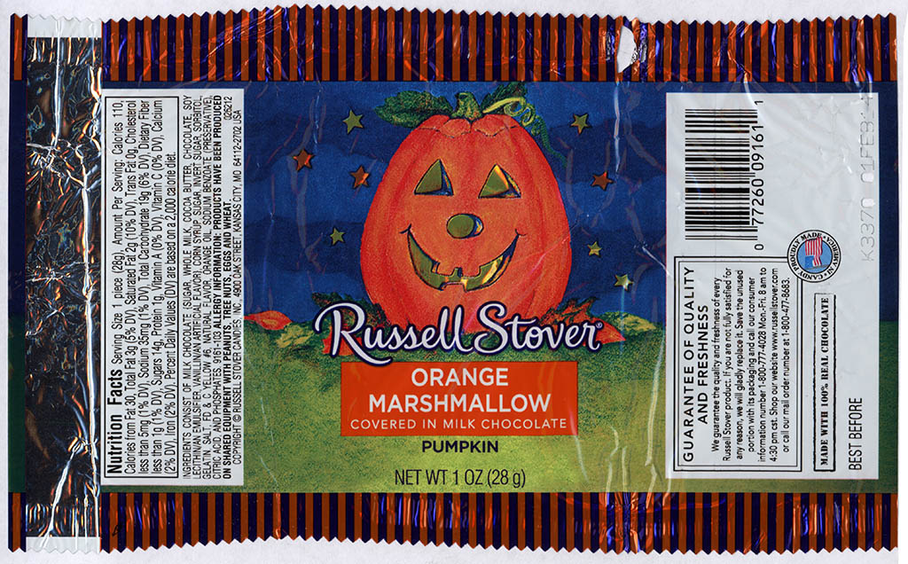 Russell Stover - Orange Marshmallow covered in Milk Chocolate Pumpkin - candy package - Halloween 2013