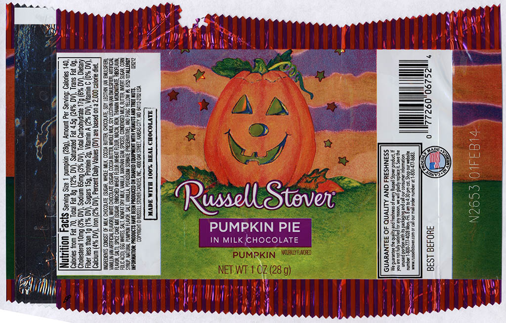 Russell Stover - Pumpkin Pie in Milk Chocolate Pumpkin - candy package - Halloween 2013