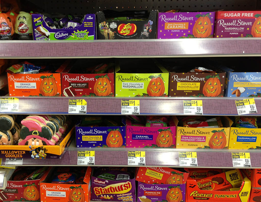 Russell Stover Pumpkins in store display.