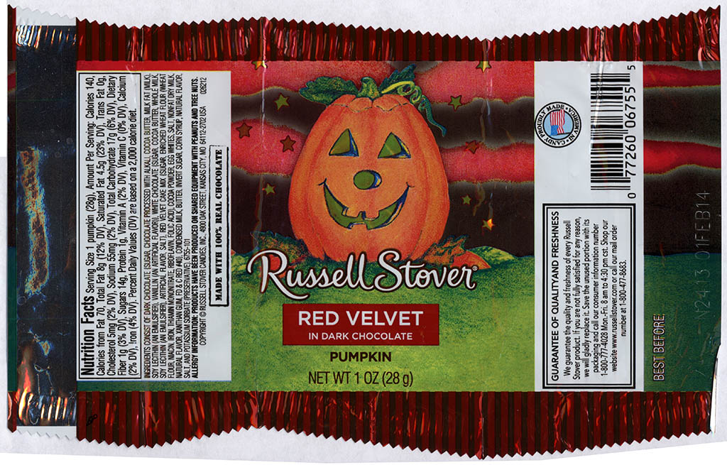 Russell Stover - Red Velvet in Dark Chocolate Pumpkin - candy package - Halloween 2013