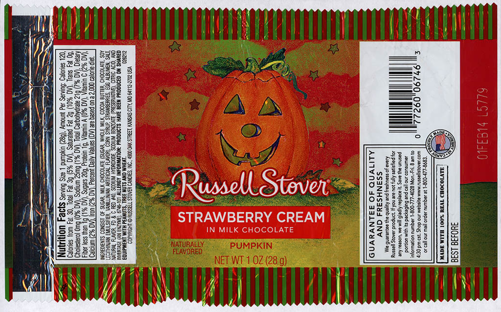 Russell Stover - Strawberry Cream in Milk Chocolate Pumpkin - candy package - Halloween 2013