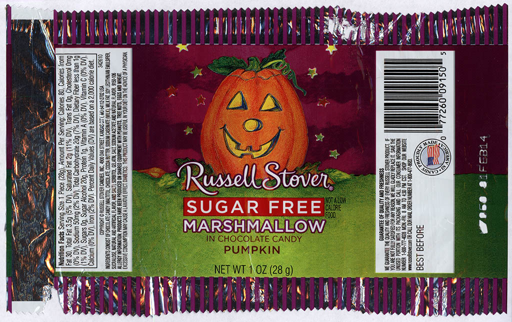 Russell Stover - Sugar Free Marshamallow Chocolate Candy Pumpkin - candy package - Halloween 2013