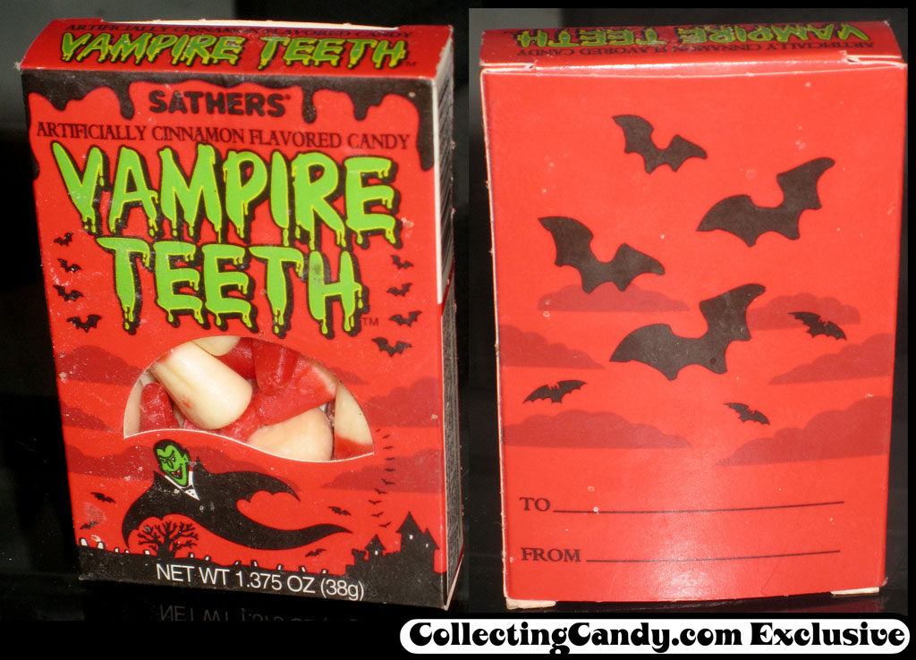 Sathers - Vampire Teeth - cinnamon flavored candy corn - candy box - 1990's