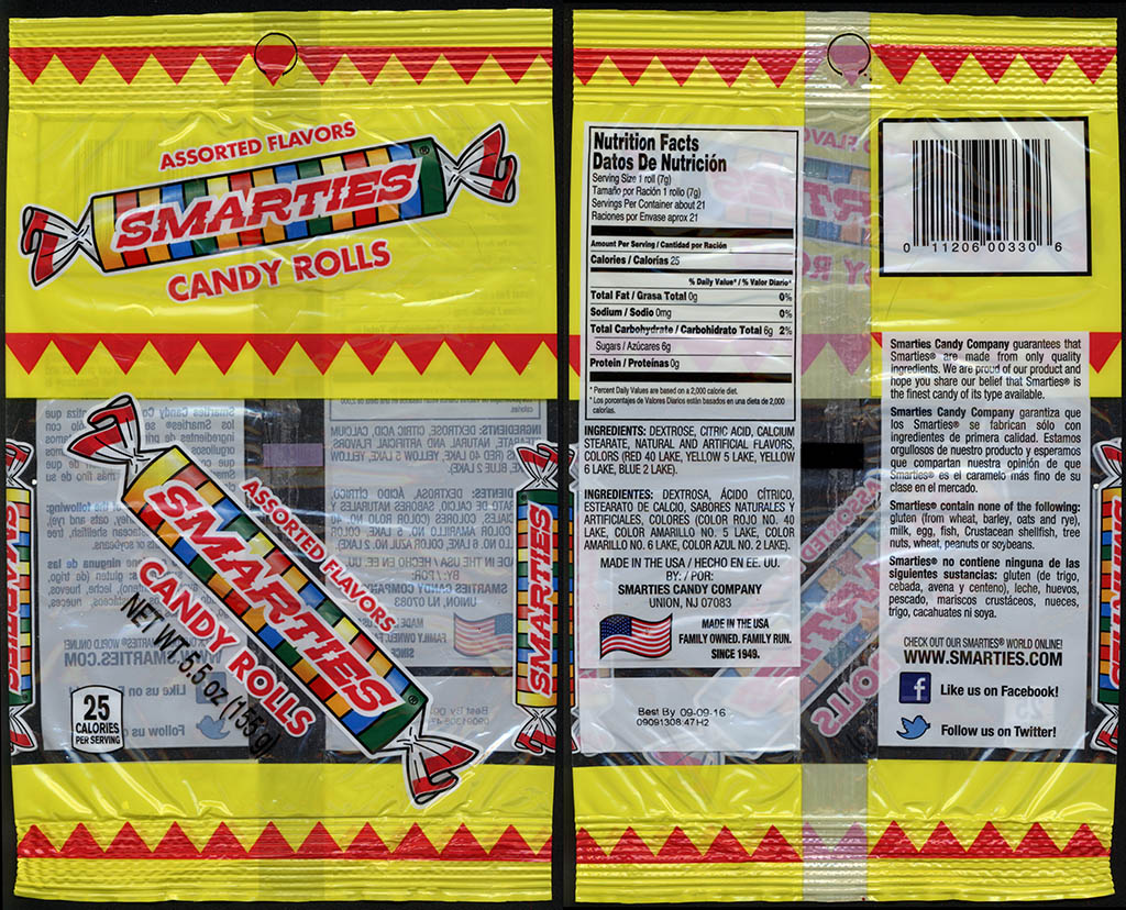 Smarties Candy Company [Ce De] - Smarties candy rolls - 5.5 oz candy peg bag package - 2013