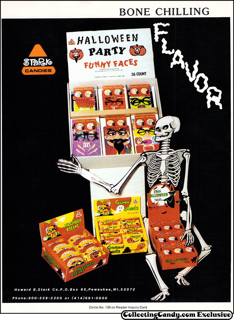 Stark - Bone Chilling Flavor - Halloween candy trade ad - July 1985