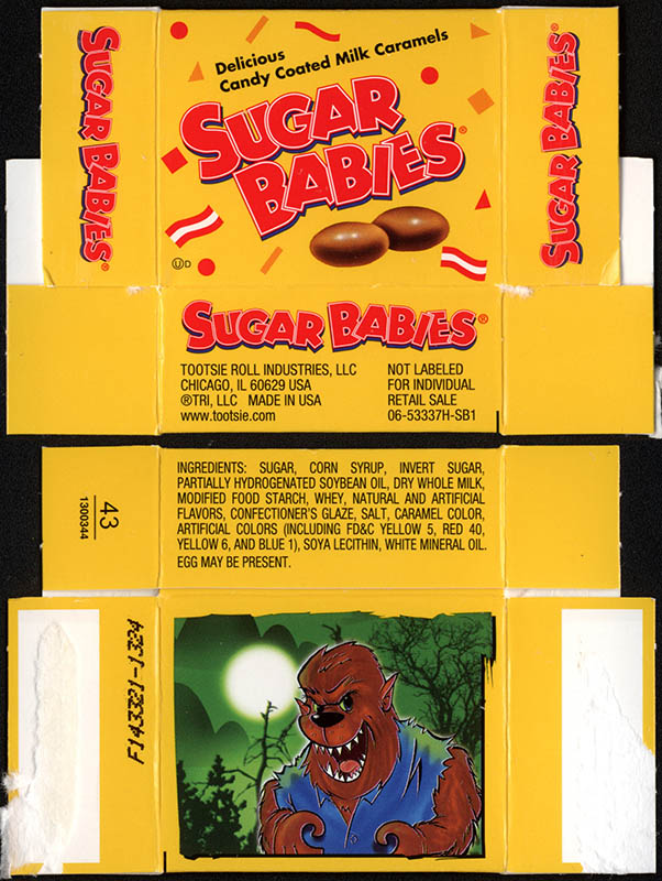 Tootsie Roll Industries - Sugar Babies - Wolfman - treat-size Halloween candy box - 2013
