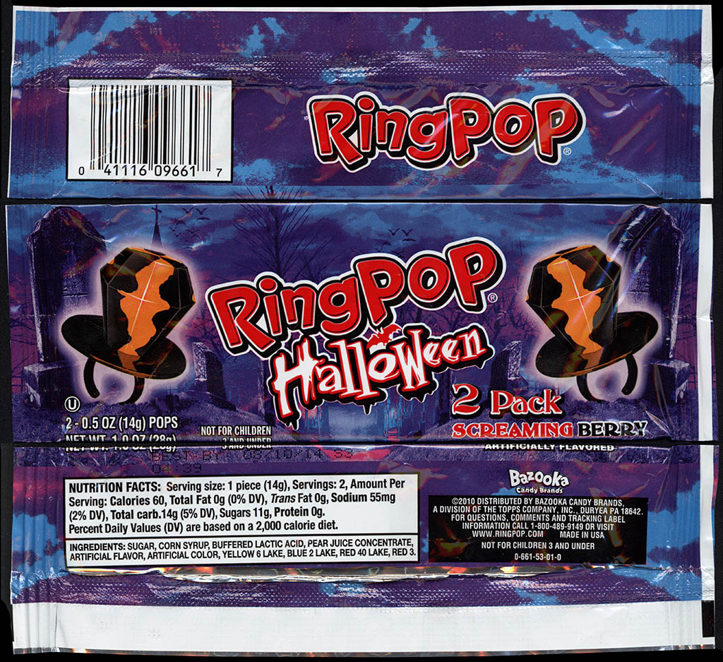 Topps - Bazooka - Ring Pop - Halloween 2-pack - Screaming Berry - candy package - 2012