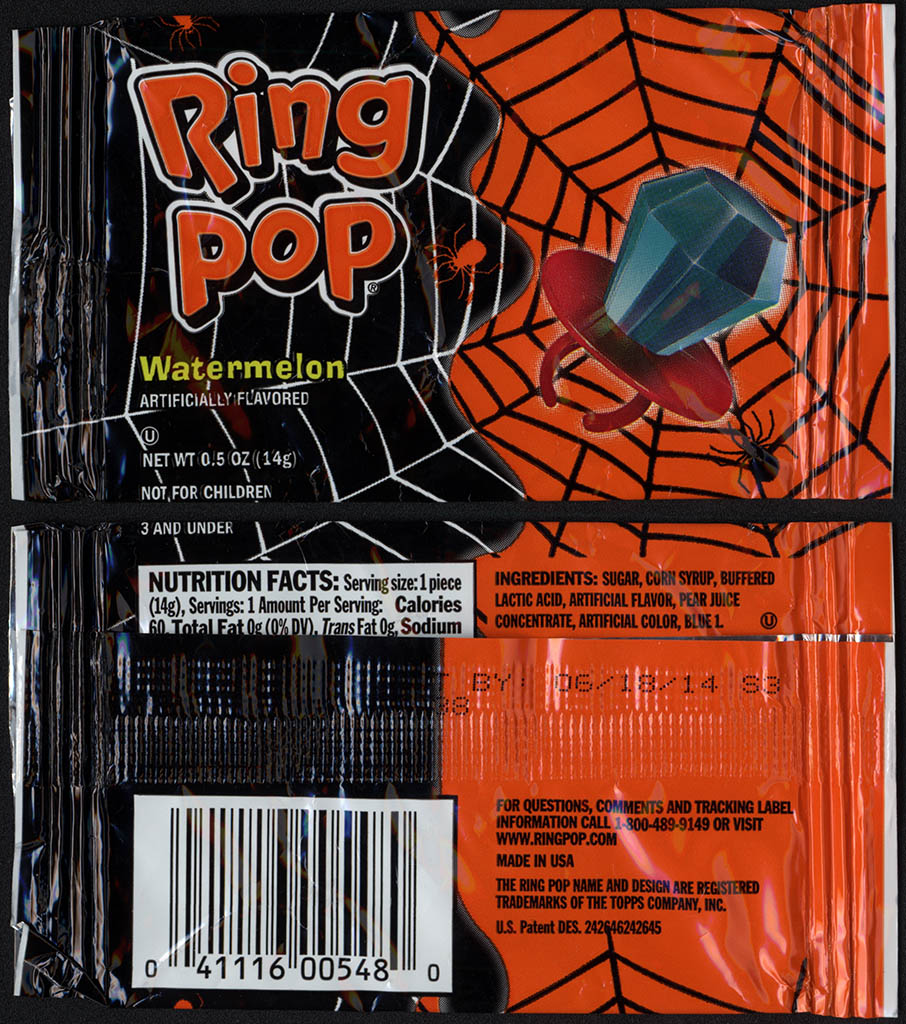 Topps - Bazooka - Ring Pop - Halloween - Watermelon - candy package - 2012