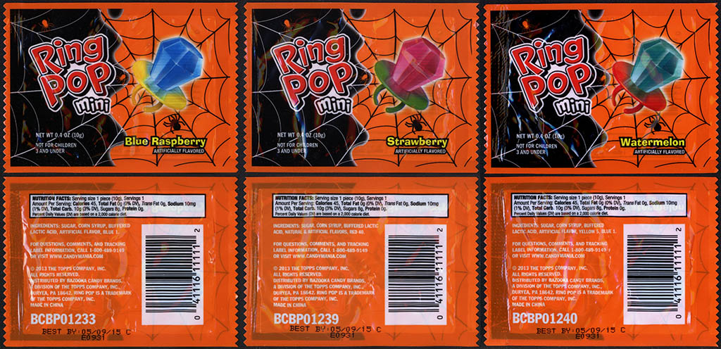 Topps - Bazooka - Ring Pop Minis - Halloween - candy package assortment - 2013