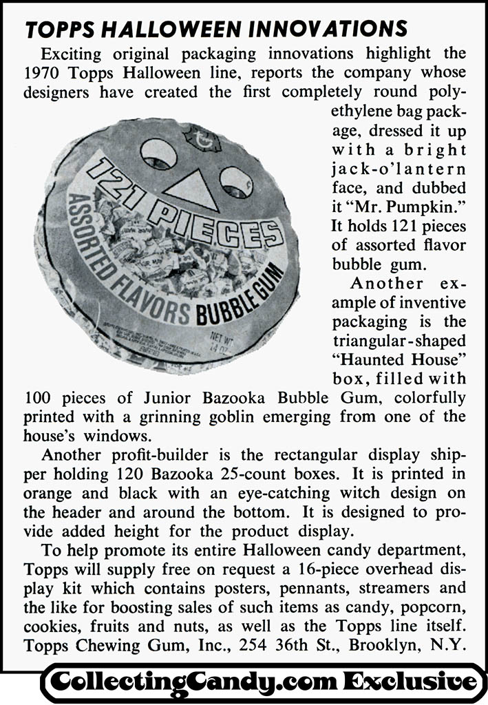 Topps - Halloween Innovations Mr Pumpkin Jack O'Lantern 121-piece bubble gum poly bag package - trade clipping - August 1970