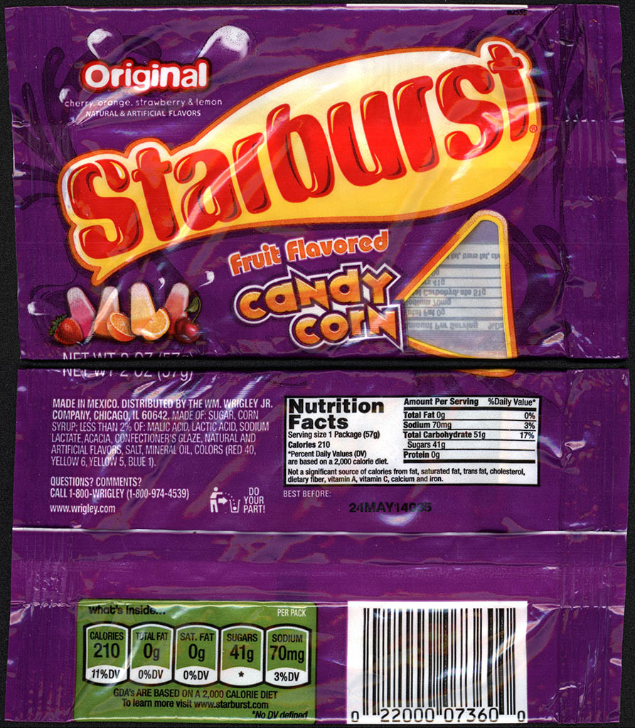 Wrigley - Starburst - Fruit Flavored Candy Corn - 2 oz candy package - 2013