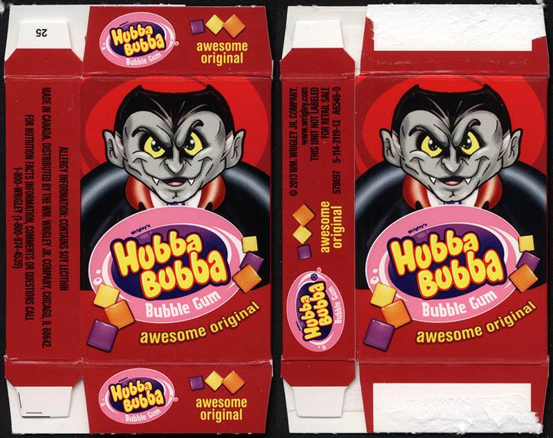 Wrigley's Hubba Bubba - bubble gum - fun-size Halloween gum box - Dracula - 2013