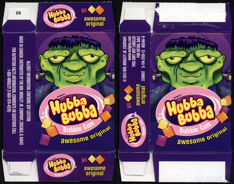 Wrigley's Hubba Bubba - bubble gum - fun-size Halloween gum box - Frankenstein's Monster - 2013