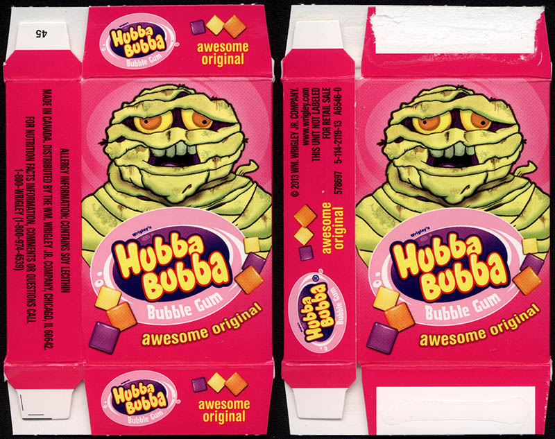 Wrigley's Hubba Bubba - bubble gum - fun-size Halloween gum box - Mummy - 2013